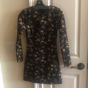 Zara long sleeve scuba floral dress XS